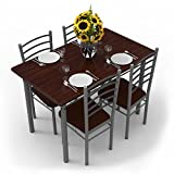 #9: Forzza Leo Four Seater Dining Table Set (Dark Walnut)
