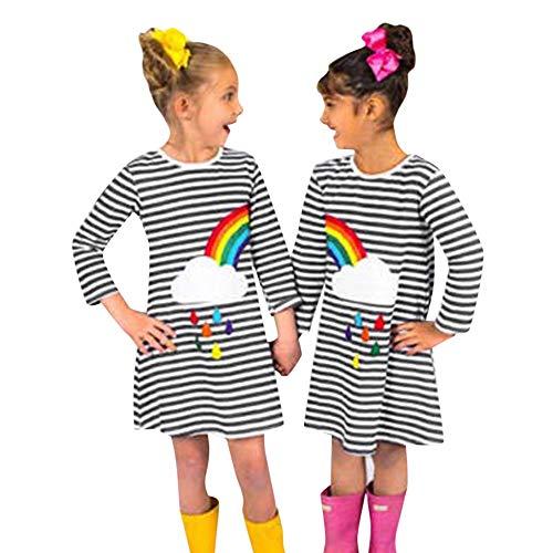 bobo4818 Kleinkind Baby Kind Mädchen Rainbow Stickerei Kleid Streifen Kleid Outfit (Gray, 4T) (Rainbow Kleider Für Kleinkinder)