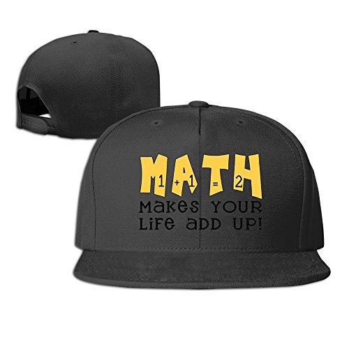 Facsea Runy Custom Math Makes Your Life Add Up Adjustable Baseball Hat & Cap Black (Math Baseball-cap)