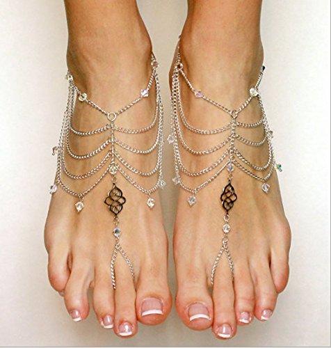jovono mujeres de la pulsera tobillera–Para sandalias descalzas entrenador vacaciones y boda