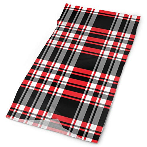 headscarves sky Plaid Red Black Stripe Original Headband with Multi-Function Sports and Leisure Headwear UV Protection Sports Neck, Sweat-Absorbent Microfiber Running, Yoga, Hiking -