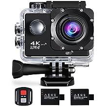 Cámara de acción 4K 16MP Sports Cam - BUIEJDOG HD WiFi Videocámara a prueba de agua con lente gran angular de 170 ° 2 baterías recargables de control remoto y 18 kits de accesorios de montaje