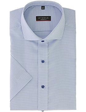 ETERNA Herren Kurzarmhemd aus 100% Baumwolle Modern Fit mit Kent Kragen Gr. 42 Blau strukturiert