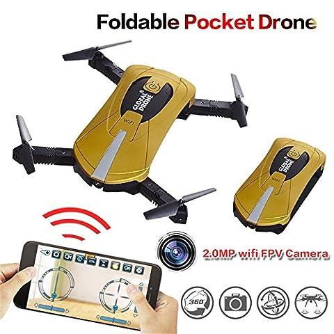 Ularma 2. 4 G 4CH Altitude Maintenez 2.0MP 720P HD CAMERA Appareil Photo WIFI FPV RC Quadcopter Poche Drone Selfie Pliable (or)
