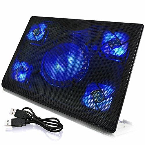 AAB Cooling NC84 - Laptopständer mit 5 Lüftern und Blau LED   Laptop Unterlage   Notebook Lüfter   Laptop Pad für Notebooks und PS4 / Xbox Consolen   Auflage   Notebook Lüfter   Kühlung