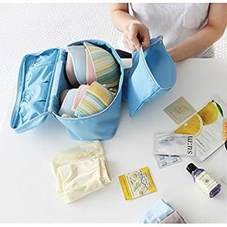 ANKKO Portable Bra Underwear Storage Bag Travel Lingerie Organizer Pouch (Blue)