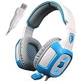 SADES SA906 7.1 Stereo Surround Sound Pro USB de la PC Gaming Headset Sobre-Oído de la venda de los auriculares de alta fidelidad con la función de vibración del micrófono Control de volumen de iluminación LED rojo remoto (Blanco)