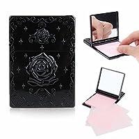 100 Blätter Puderpapier Spiegelbox Oil Control Paper Geheimnisvoll Rose Design (Schwarz)