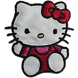 Parches - Hello Kitty sitzend niños - rojo - 6,4x5,8cm - termoadhesivos bordados aplique para ropa