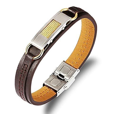 AnaZoz Bracelet Acier Inoxydable pour Homme Carbon Fiber Cuir Buckle Clasp Or 20.5x1.2CM