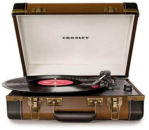 Crosley - Giradischi in design valigetta, 3 velocità e altoparlante stereo incorporato, compatibile con USB, alimentazione AC (spina UK) Spina EU nero