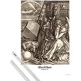 Póster + Soporte: Albrecht Dürer Póster (91x61 cm) Melencolia I, La Melancolía, 1514, Sepia Y 1 Lote De 2 Varillas Transparentes 1art1®