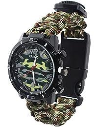 Reloj de Supervivencia Al Aire Libre Militar Compás Termómetro Multifunción Cuerda Paracord Camuflaje Relojes Hombre,