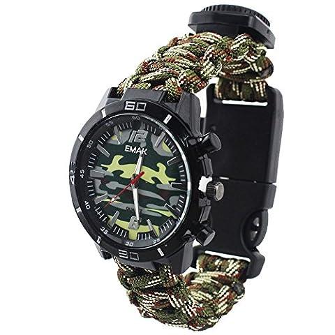Outdoor Survival Militaire Compas Thermomètre Paracord Rope Wristband Camouflage Montre Pour Homme, Armée Verte