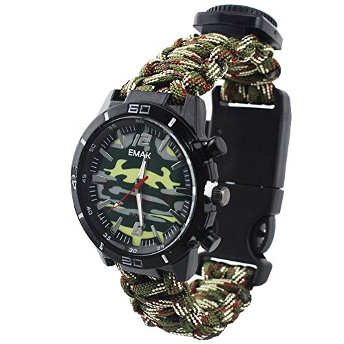 Outdoor Survival Multifunction Military Compass Thermometer Wrist Watches Camouflage Paracord Rope Bracelet Hand-Woven Wristband Sport Men Watches, ArmyGreen