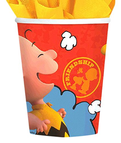 Amscan Classic Peanuts Paper Cups Birthday Party Supply, 9 oz, Yellow Orange/Red/Blue