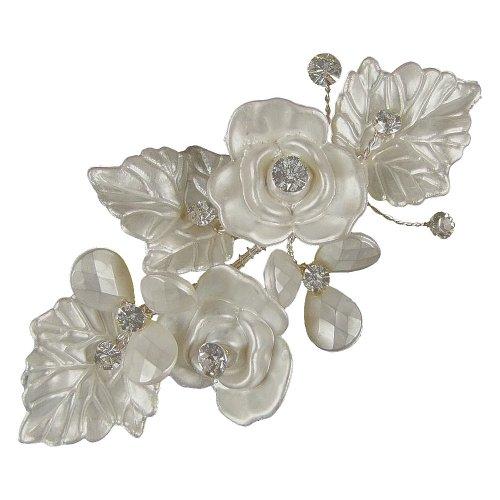 Mariella Fleur et Feuille Pince à cheveux 9 cm (Argent/blanc) (E2071hs)
