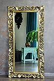 Naturesco Edler Wandspiegel Barockspiegel Rokoko Holz gold antik 120cm x 60cm hoch und quer