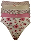 Pack of 5 Ladies High Leg Assorted Famous Make Cotton Rich Briefs. Sizes 8 to 20 (8, Pink Mixed Pack)