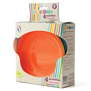 Plastorex Lot de 4 Assiettes - Polypropylène 8401 - Coloris Opaque