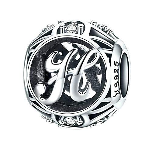 Uignite Charm Beads 925 Sterling Silber Buchstabe des Alphabets Charm Anhänger für Armband und Halskette Buchstabe H