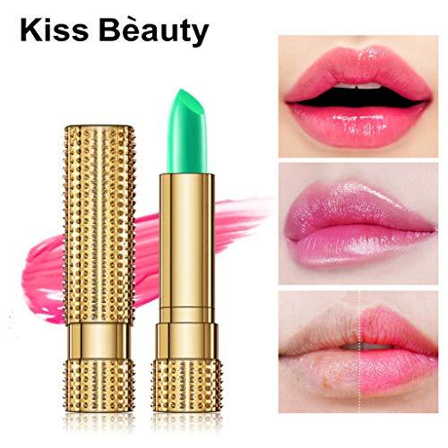 99native Lippenstift, Schönheit helle Crystal Jelly Lippenstift Magic Temperatur ändern Farbe Lippenbalsam langer halt Feuchtigkeitsspendender und pflegender Lippenstift (Grün) -