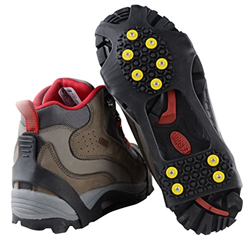Traction Cleats, Snow Grips Ice Creepers Over Shoe Boot, Anti Slip 10 Studs Rubber Crampons for Footwear (Medium, Black)