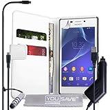 Yousave Accessories Coque Sony Xperia M2 Etui Blanc PU Cuir Portefeuille Housse Avec Mini Stylet, Chargeur De Voiture Et Chargement Micro USB