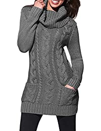 33805362424 Asvivid Women Turtleneck Cable Knit Sweater Dress Long Sleeve Slim Pullover  Top Size UK6-20