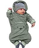 Cute Baby Warm Romper Cat Avatar Stripe Ropa de Manga Larga Baby Jumpsuit