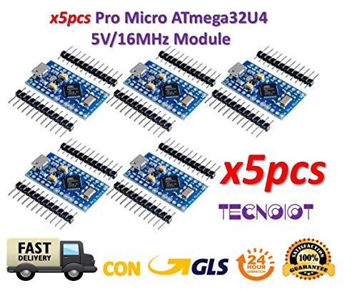 TECNOIOT 5pcs Pro Micro ATmega32U4 5 V/16MHz Module