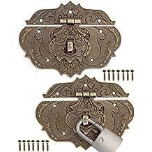56 x 42mm 6er Set 6x Antik Scharniere FUXXER/® F/ür Schr/änke Schrank-T/üren Truhen Kisten Dosen im Vintage Land-Haus Retro Stil Bronze Eisen Design