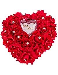 Almohada de anillos de boda ZJchao 15 x 13 cm, con forma de corazón