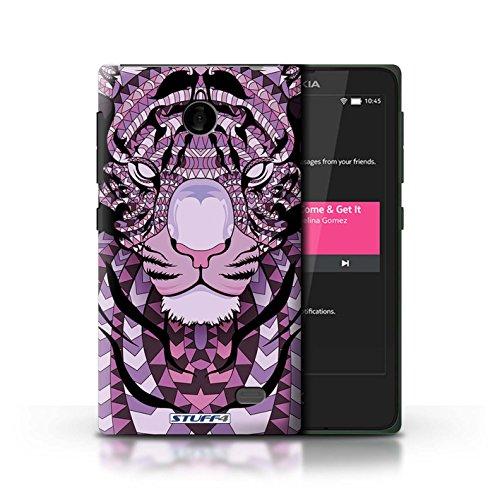 Kobalt® Imprimé Etui / Coque pour Nokia X / Tigre-Couleur conception / Série Motif Animaux Aztec Tigre-Pourpre