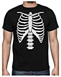 Camiseta para Hombre - Xray Rib Cage Usar en la Noche de Brujas, Halloween Large Negro