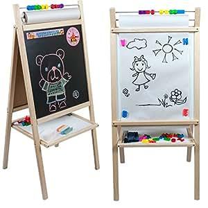 Tableau pour enfant double face ardoise et magn tique avec rouleau de papier et boulier amazon - Tableau magnetique pour cuisine ...