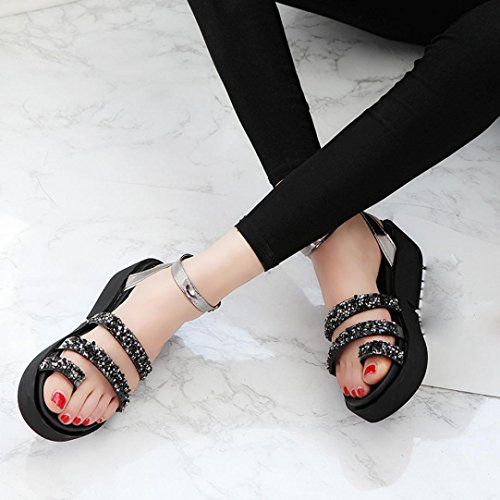 WOCACHI Damen Sommer Sandalen Frauen dicke Sohlen Strass Sandalen Sommer Schuhe Fashion Sandalen Schuhe Black