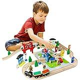 ACOOLTOY Train Set en Bois Ensemble de Train Jeu pour les Enfants Tout-petits de 3 Ans