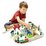 ACOOLTOY Legno del Giocattolo Treno 80 Pezzi Ferrovia di Legno Flessibile Traccia Educativo per Bambini 3 Anni immagine