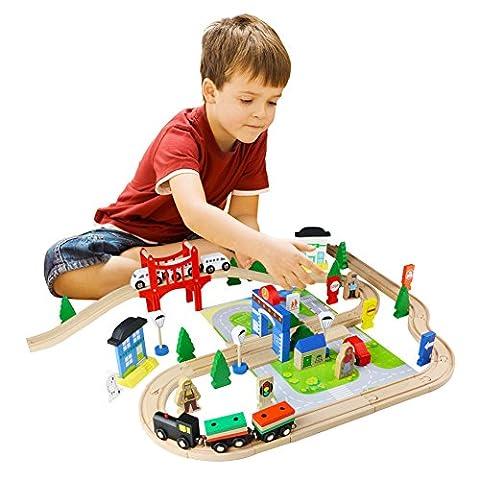 ACOOLTOY 80 Set Holzeisenbahn Set Klassisches Schienen mit Brücke Spielbahn aus Buchenholz für Kinder ab 3 Jahren