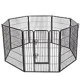 FEANDREA Jaula Valla para Perros, Corral Plegable para Cachorros, Conejos y Otras Mascotas Gris 80 x 100 cm PPK81G