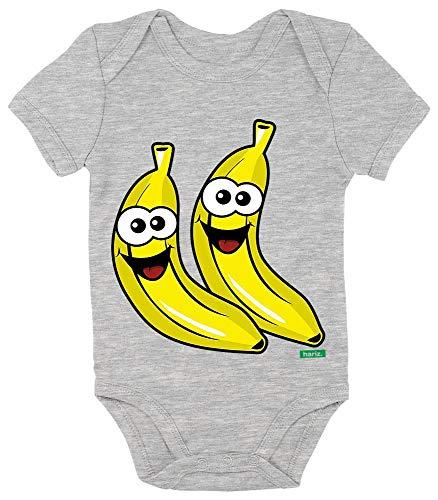 HARIZ Baby Body Kurzarm Bananen Lachend Frucht Süß Inkl. Geschenk Karte Bleistift Grau 0-3 (Keine 2 Bleistift Kostüm)