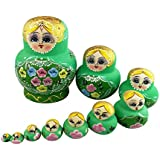 Cute Big Belly Shape Green Blonde Little Girl With Flower Pattern Handmade Wooden Russian Nesting Dolls Matryoshka Dolls Set 10 Pieces For Kids Little Girls Toy Birthday Christmas Gift Home Decoration