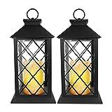 Eaxus 2X️ Laterne mit LED-Kerze.  Edles Design, warmes, kerzenähnliches Licht ohne echte Flamme! Ideal als Gartendekoration draußen oder auch im Wohnzimmer. 3X AAA-Batterien (Nicht enthalten)