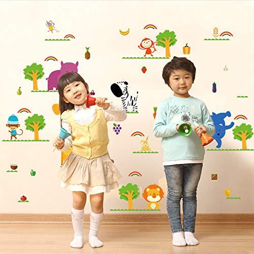 Meaosy Obst Gemüse Zoo Kinder Wandaufkleber Für Kinderzimmer Kinderzimmer Baby Schlafzimmer Cartoon Tiere Dekoration Abziehbilder