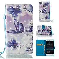 HUAWEI P9 Lite Case, Iddi-Case Fashion Cute Pattern Luxury Pu Leather Wallet Magnetic Design Flip Folio Protective Case Cover with Card Holder - Blue Butterfly