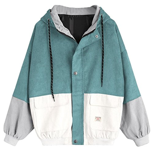 Moonuy,Damen Long Sleeve Hoodies, Damen Cord Patchwork Oversize Zipper Jacke Windbreaker Crop Mantel Lässige Mantel für Party, Beach Damen Mädchen Sweatshirt (Blau, EU 34 / Asien S)