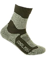 Calcetines verdes de ejército que van de excursión calcetines de deportes de Mens Coolmax 2Pairs. una talla L (9.6-10.8'')