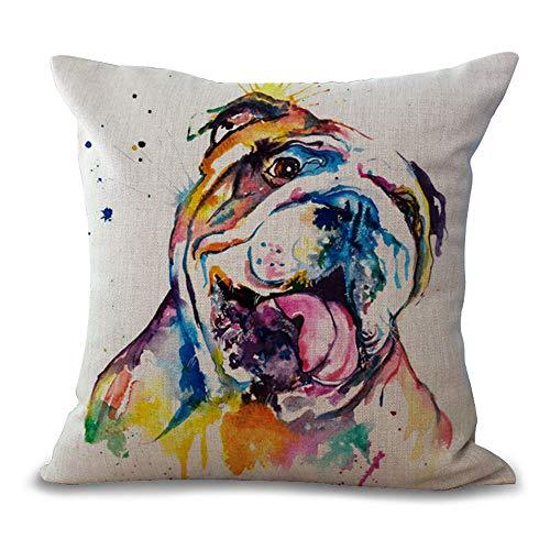 MEHOUSE Housses de Coussin,Housse Coussin Rectangulaire Coussins Canapé Coussins Decoration Taie d'oreiller Bulldog Canapé en Coton Série Huile 45 * 45CM