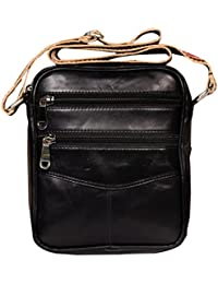 Raicon Black Color Sling Bag Cross Body Bag In Genuine Leather For Mobile / Tablet / Mac